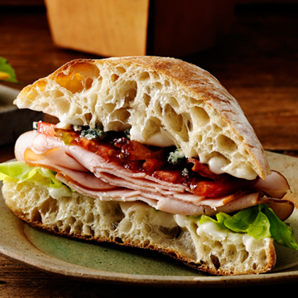 Blue Cheese and Ham on Ciabatta Sandwich
