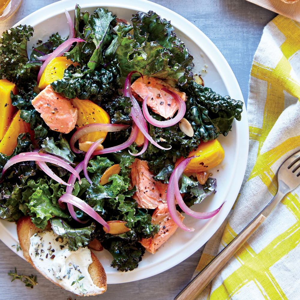 Kale and Beet Salad with Salmon