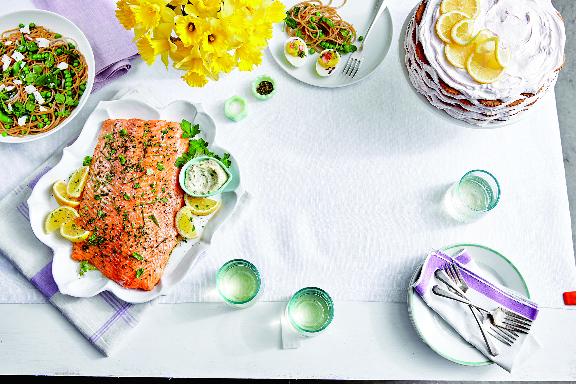 Whole Salmon Fillet with Cornichon Caper Sauce