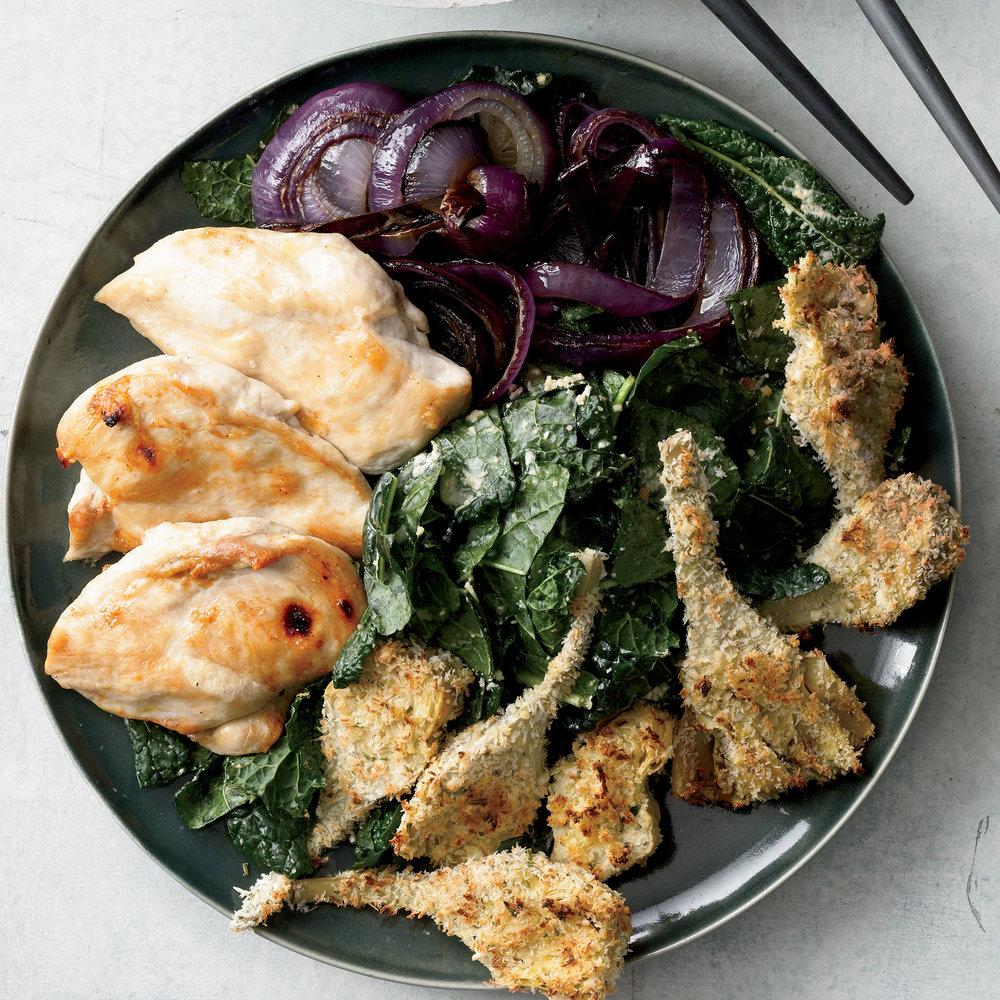Chicken Kale Caesar with Crispy Artichokes