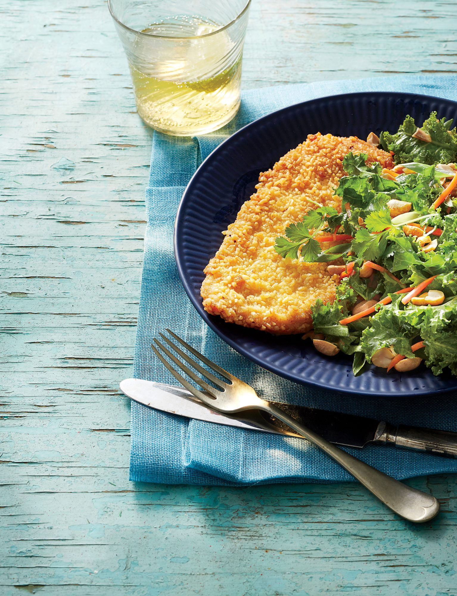 Crispy Ramen Crusted Chicken with Asian Salad