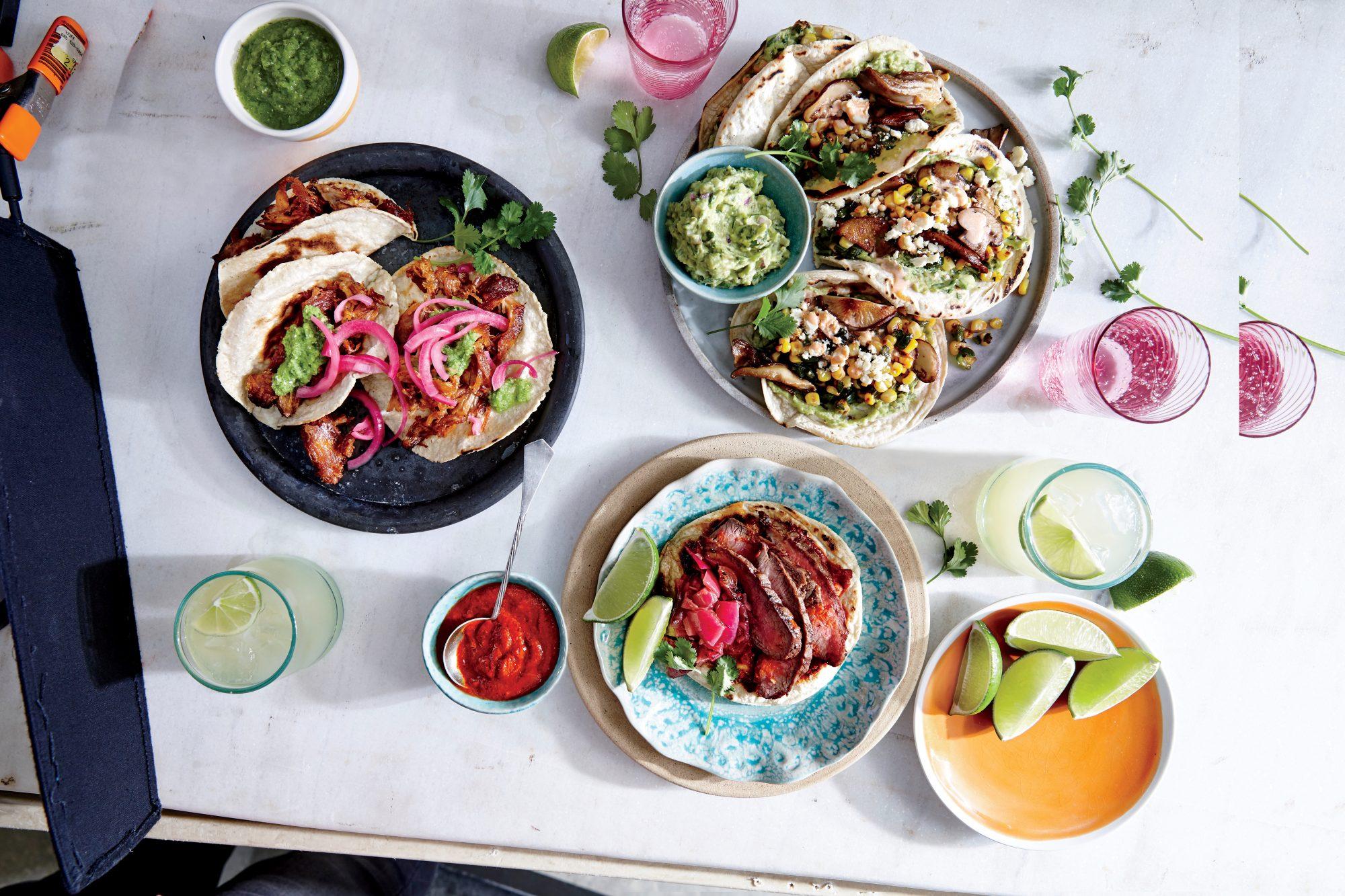 Mushroom and Charred Corn Tacos with Guacamole