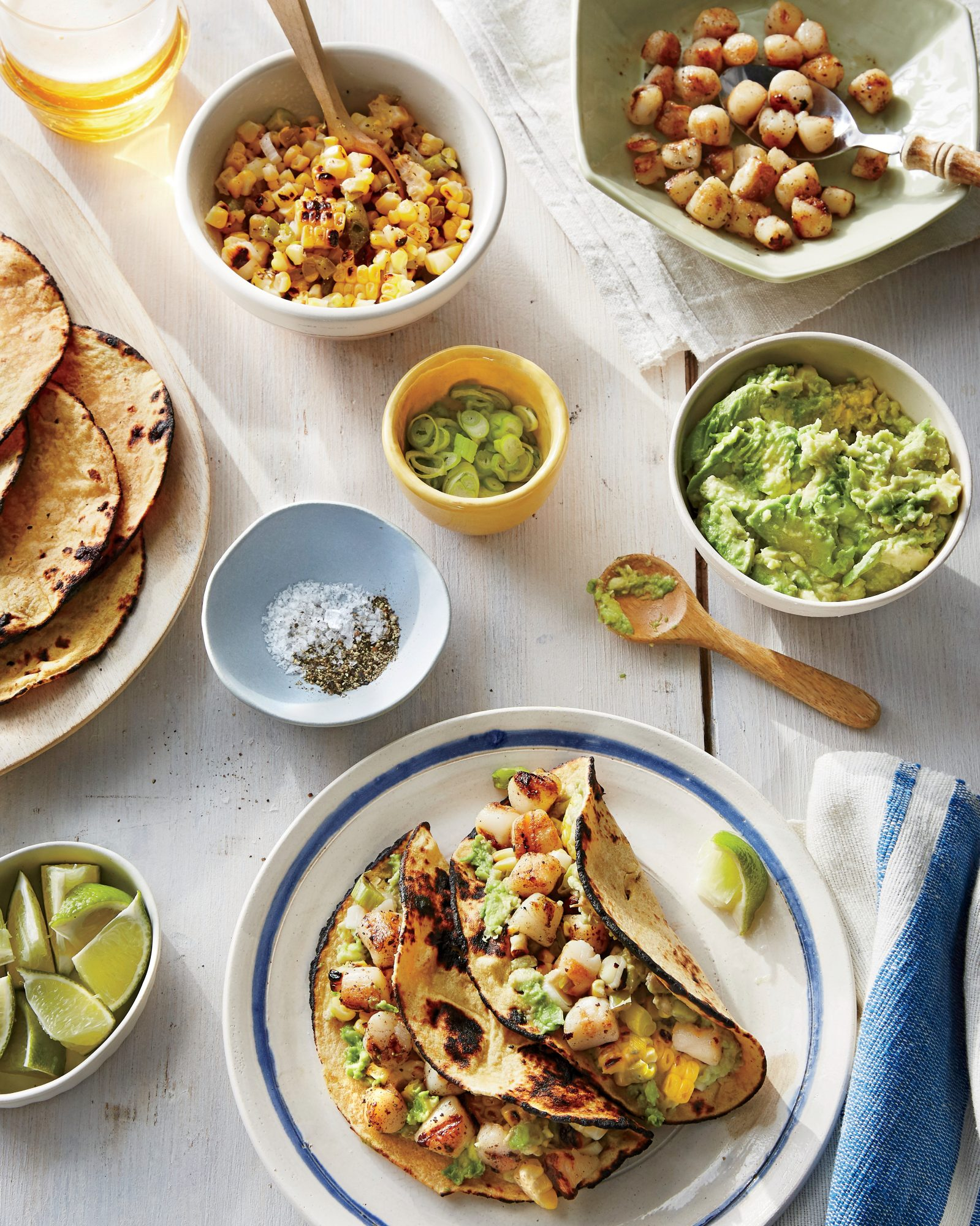 Grilled Scallop Tacos with Smashed Avocado and Charred Corn Pico