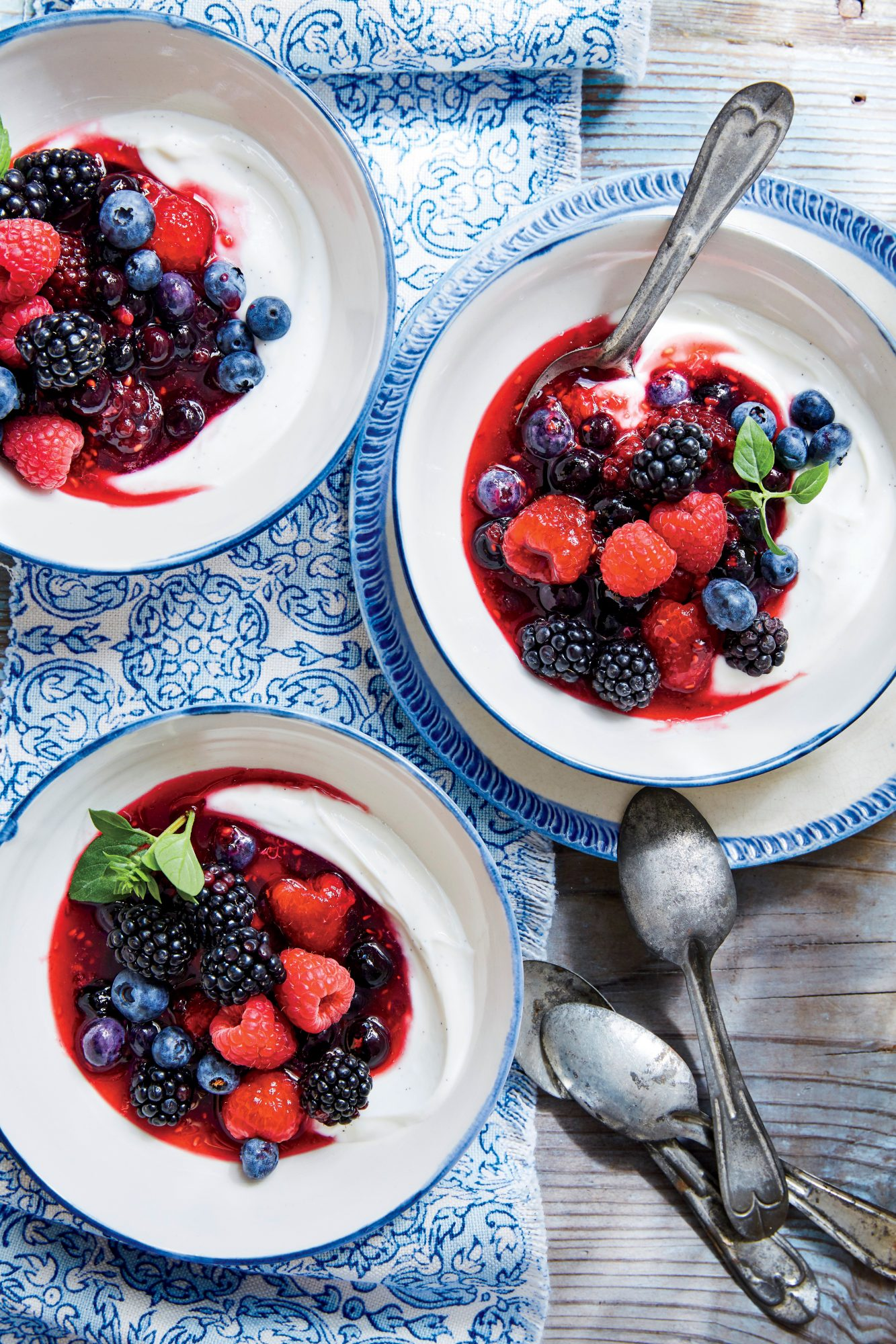 Warmed Berries with Honey and Fresh Cheese