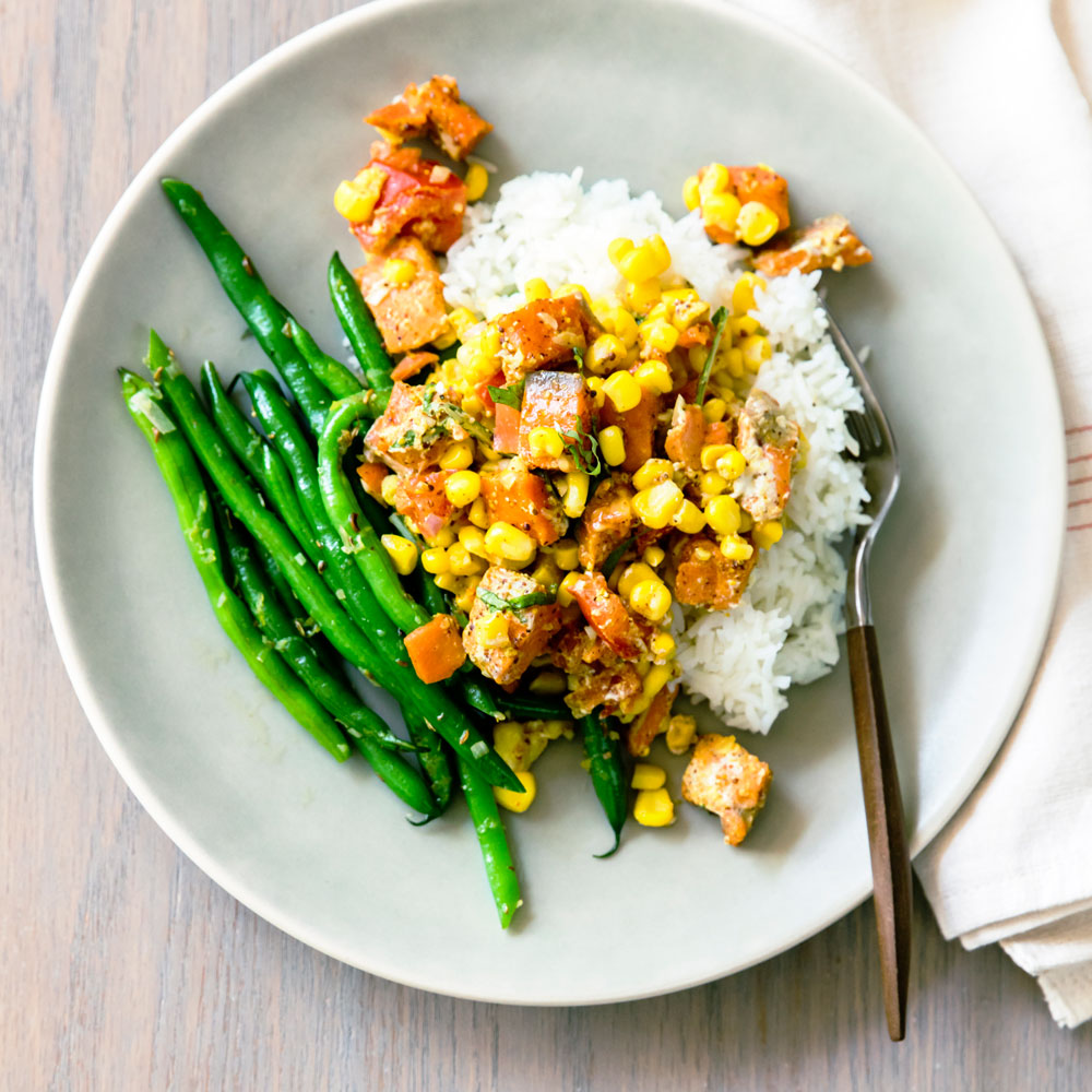 Slow-Roasted Curried Salmon with Corn and Tomato