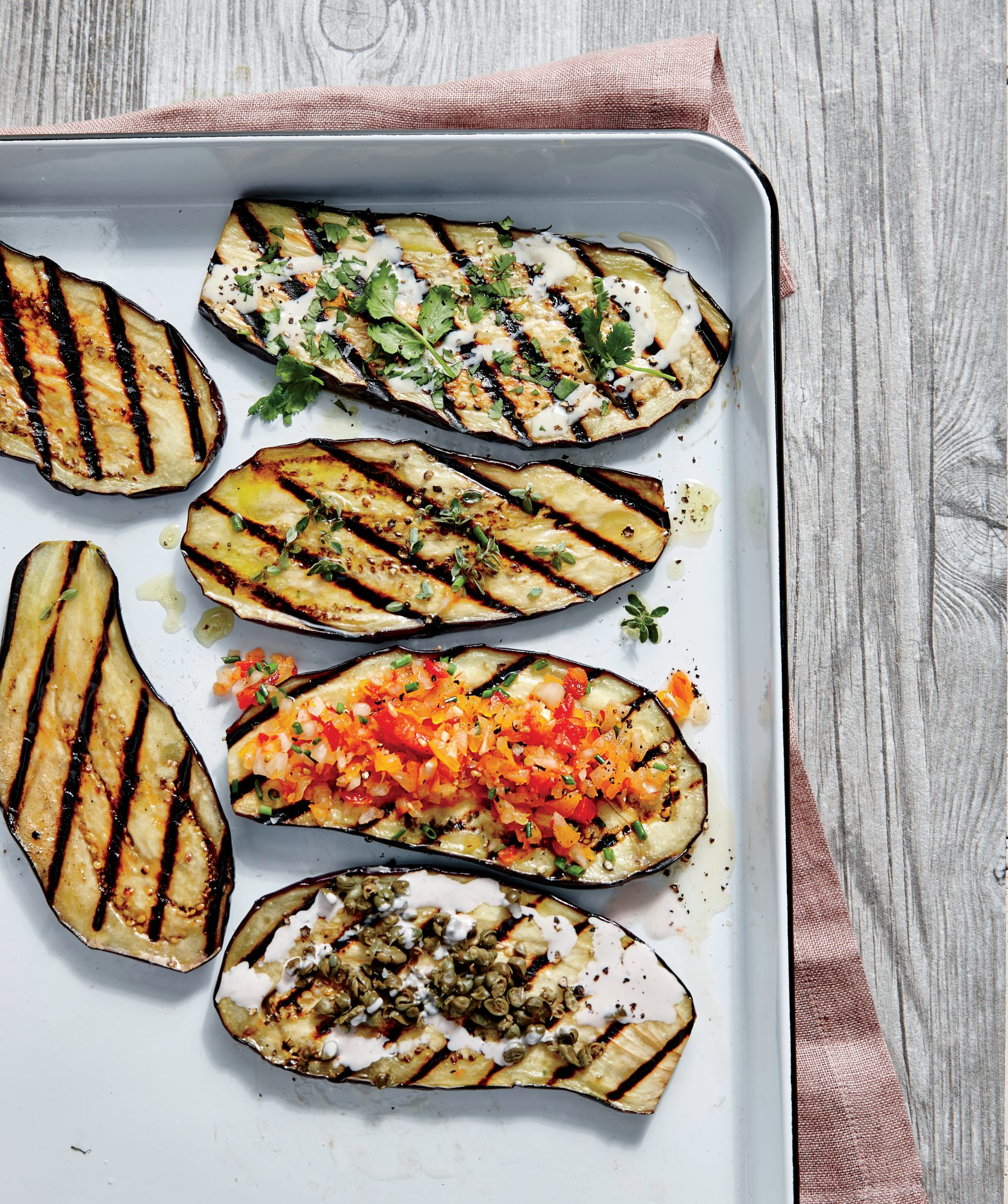 Grilled Eggplant Planks with Creole Salsa