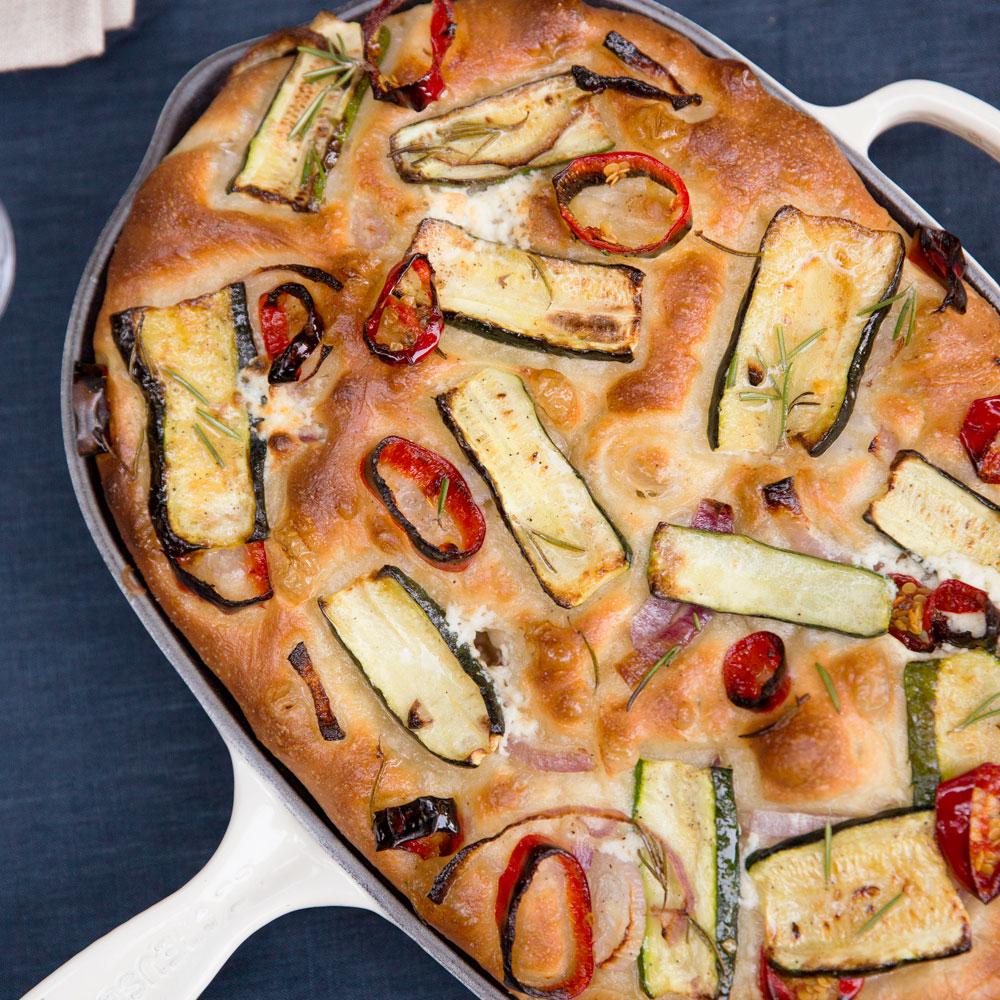 Zucchini, Red Onion, and Ricotta Focaccia