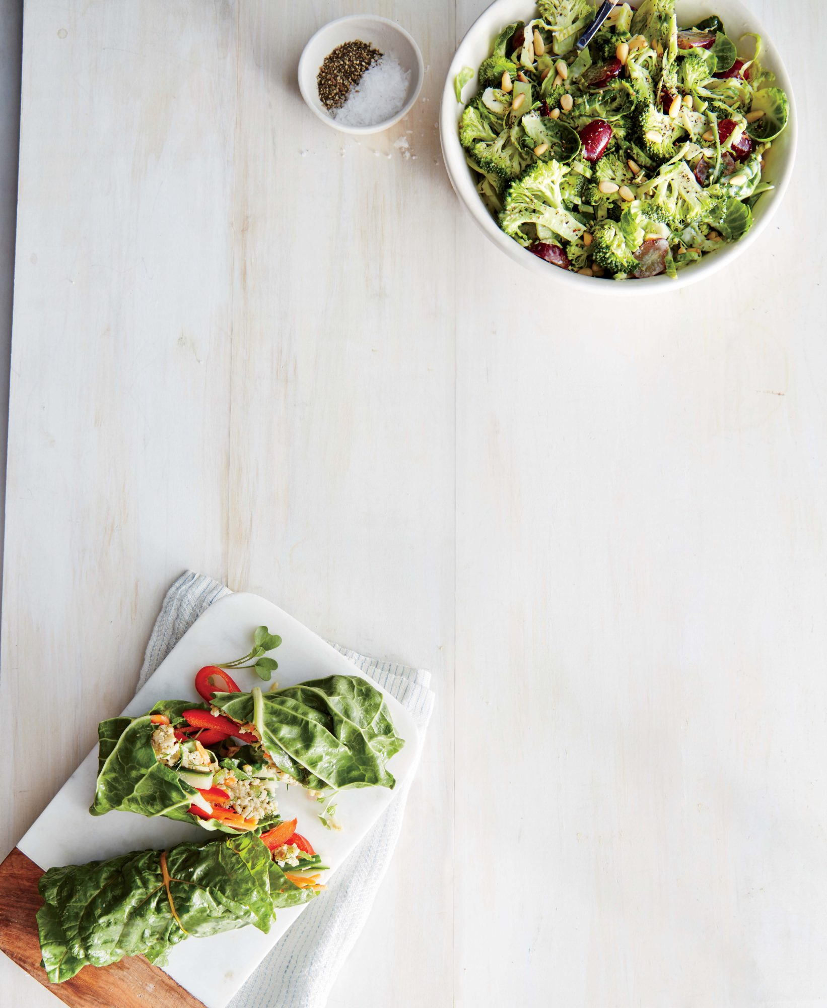 Shaved Broccoli and Brussels Sprouts Slaw