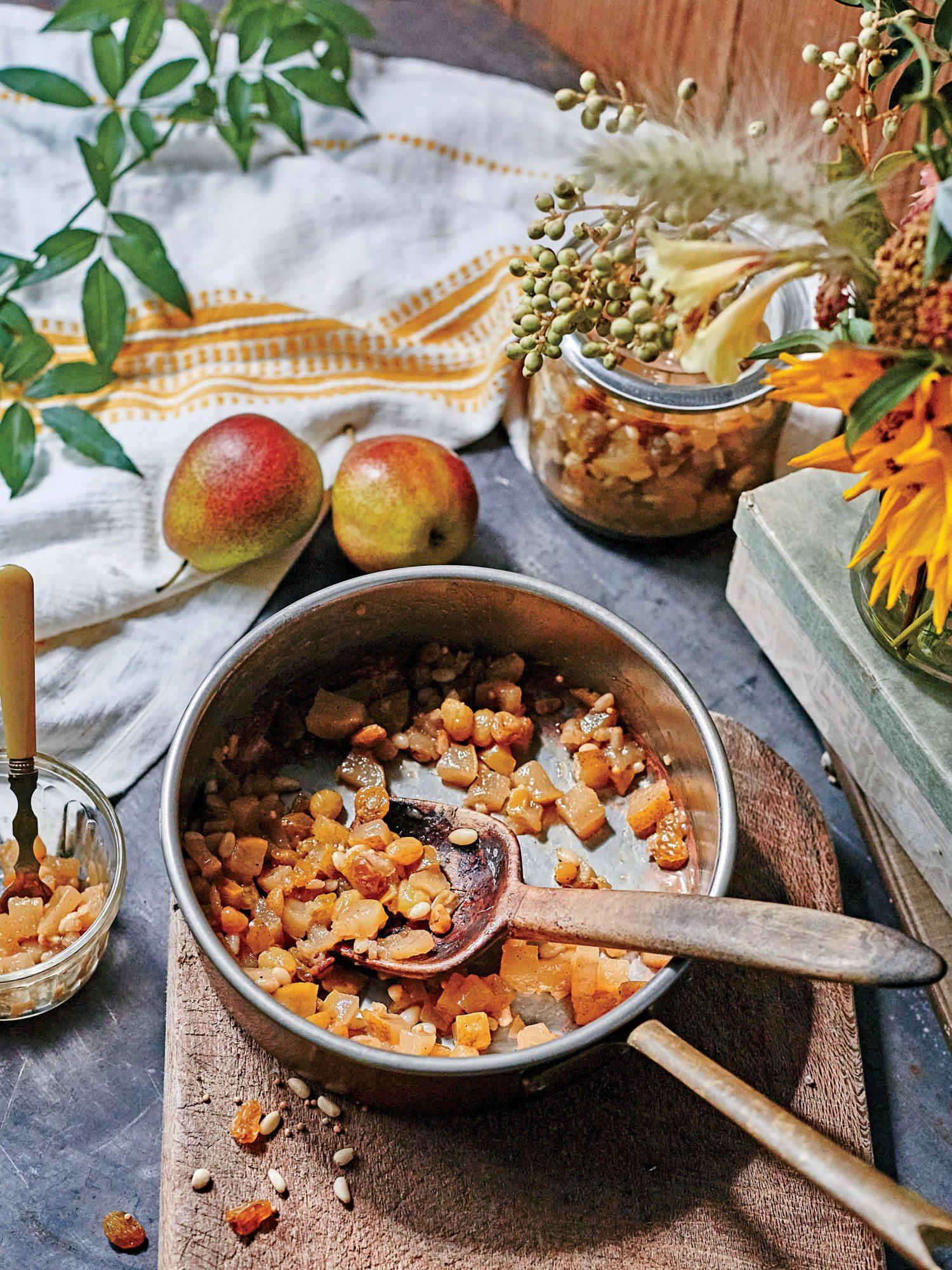 Pear and Golden Raisin Ginger Chutney