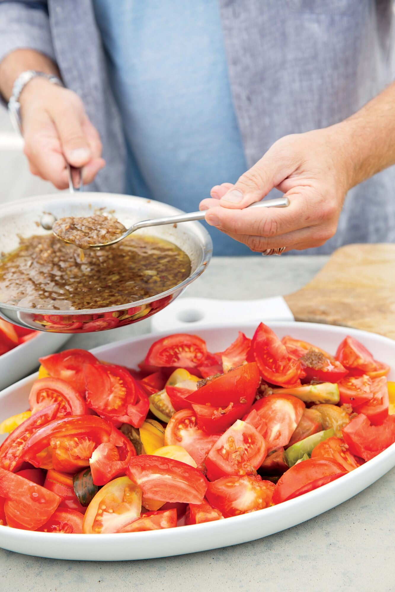 Heirloom Tomato Salad with Warm Anchovy Vinaigrette