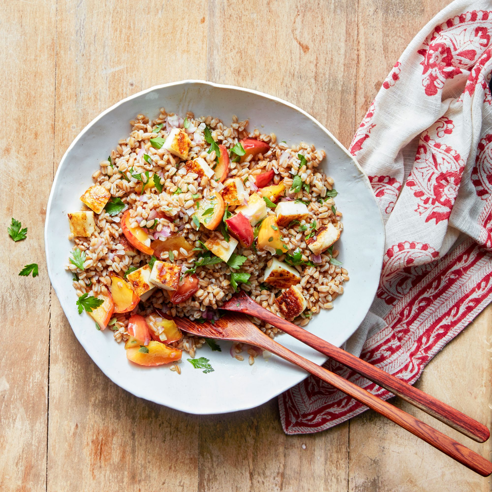 Farro Salad with Apples, Halloumi, and Herbs