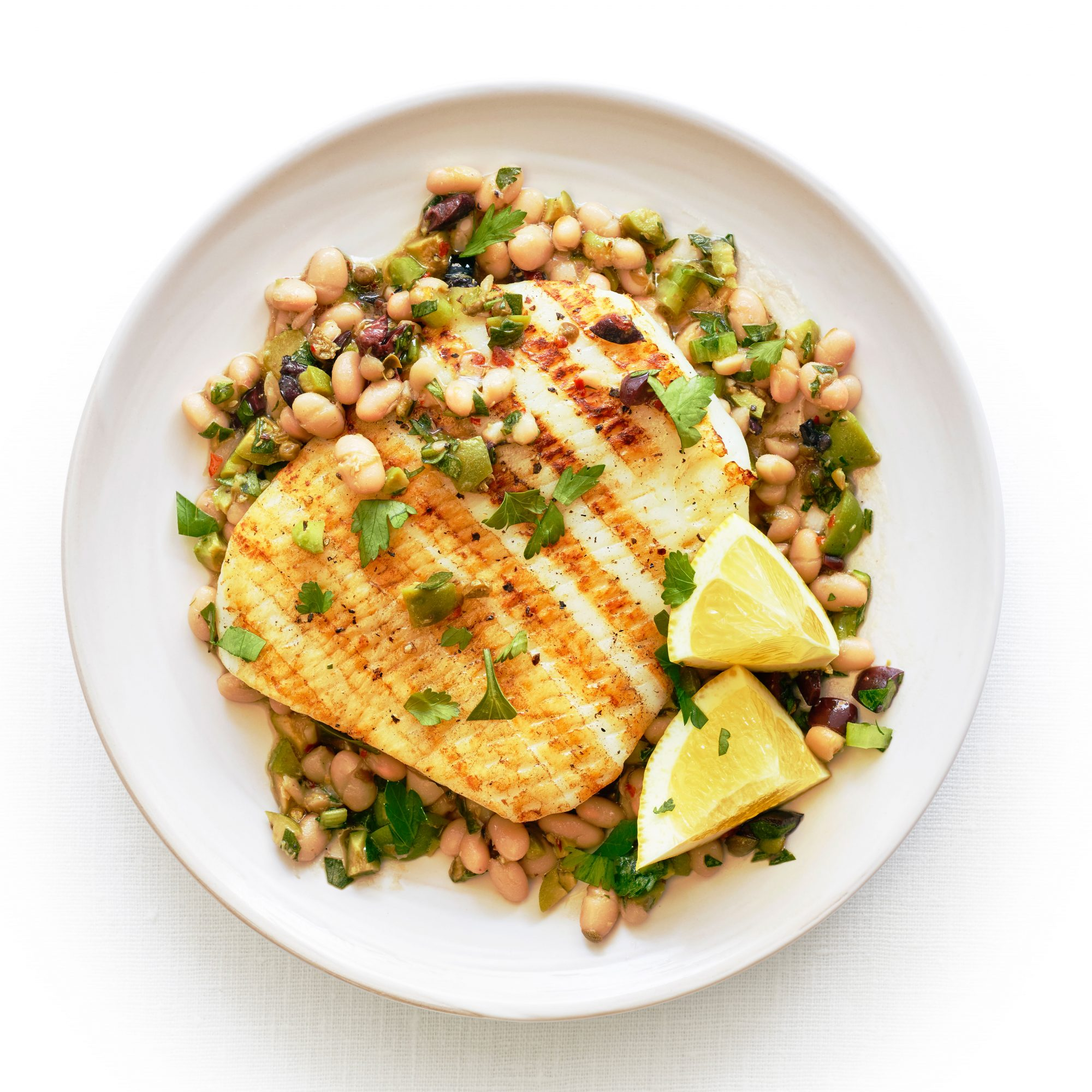 Grilled Calamari Steaks with Olive and Bean Salad image