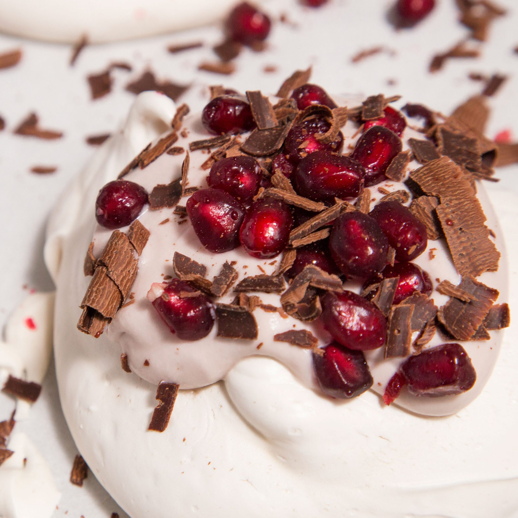 Vegan Pavlovas with Pomegranates and Chocolate