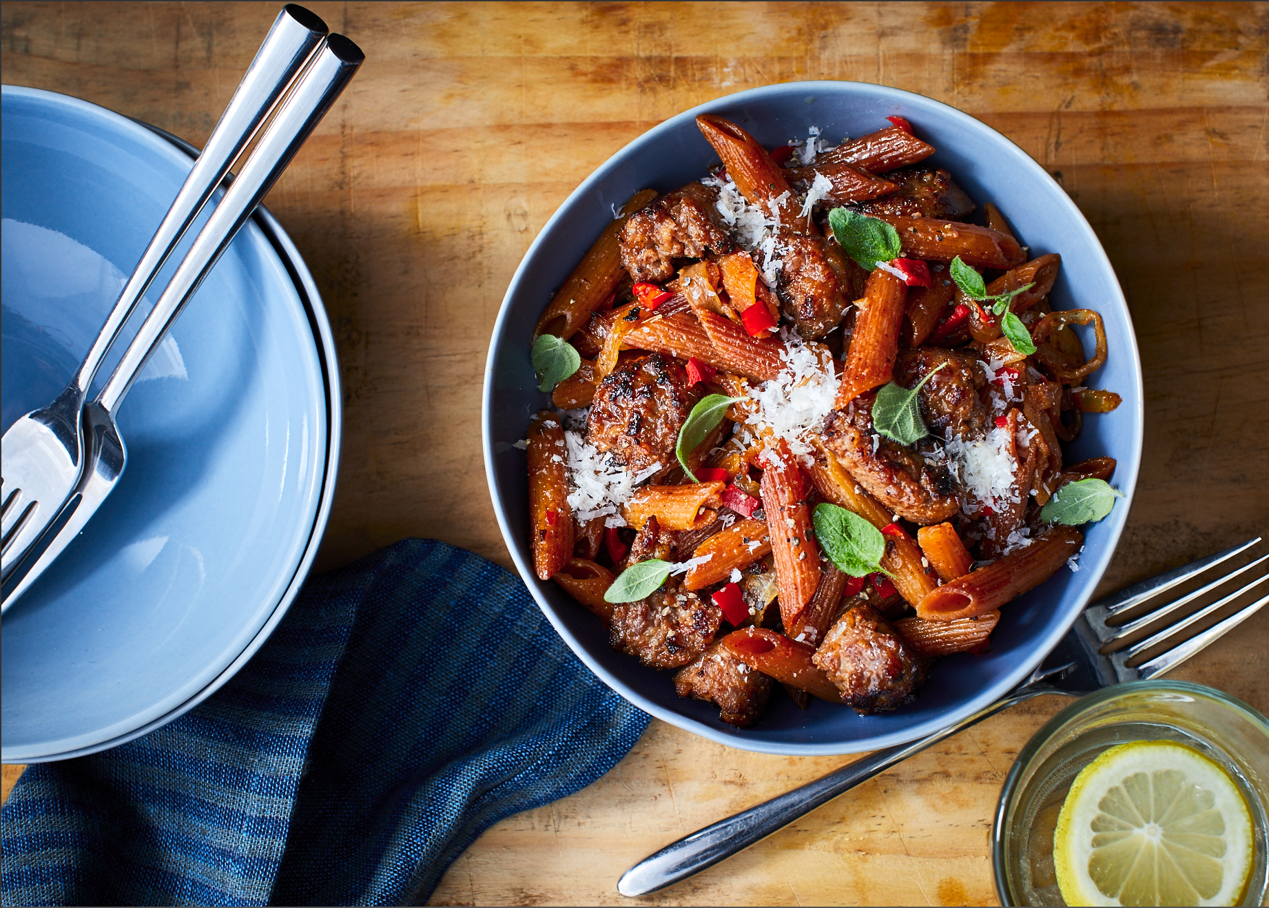 Skillet-Toasted Penne with Sausage