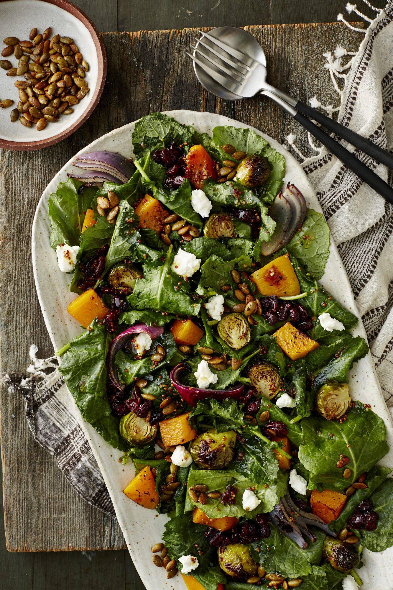 Roasted Autumn Veggie Salad with Baby Kale