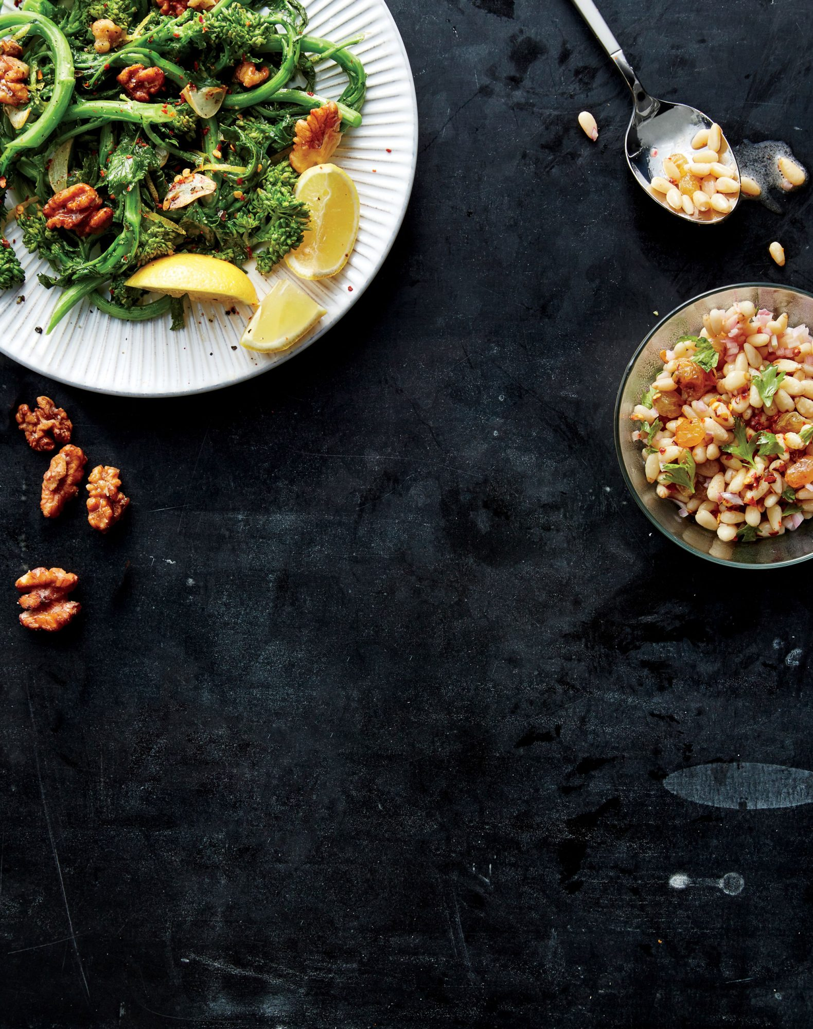 Spicy Broccoli Rabe with Fried Walnuts