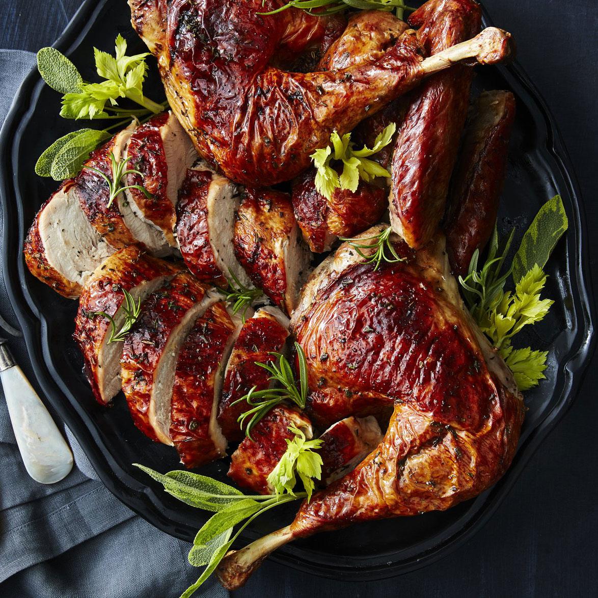 Grilled Butterflied Turkey with Celery Herb Rub