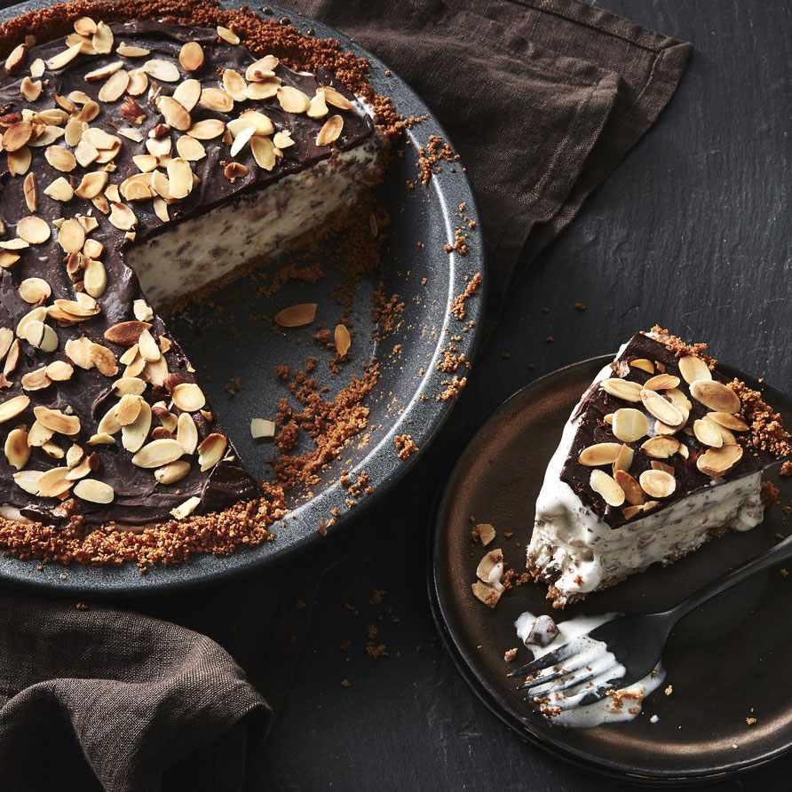 Toasted Almond and Chocolate Toffee Ice Cream Pie