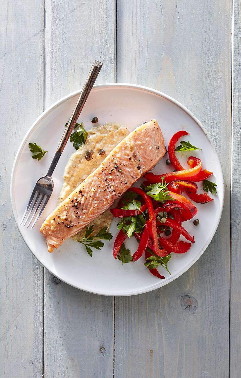 Slow-roasted Salmon with Hazelnut Tarator and Roasted Pepper Salad