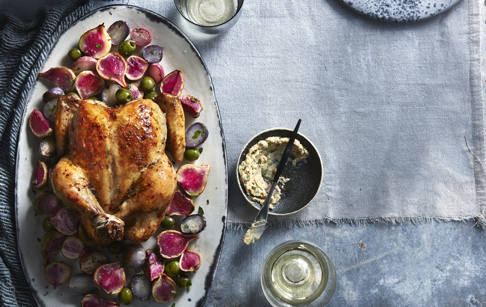 Whole Roasted Chicken with Anchovy Butter and Fall Radishes