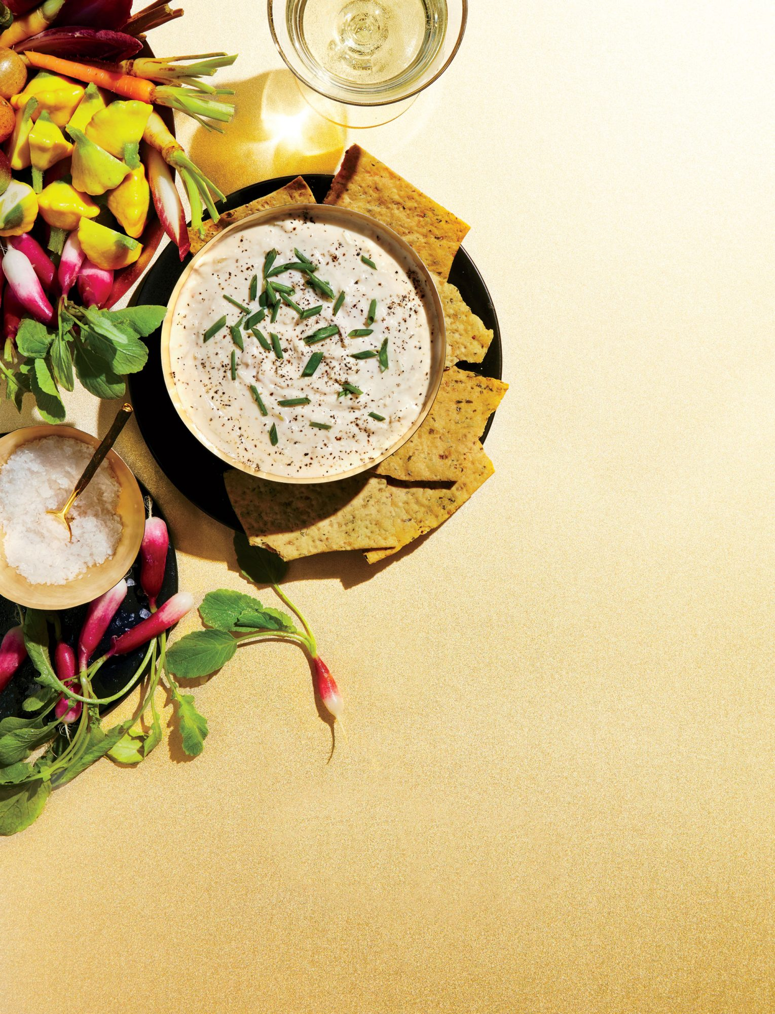 Goat Cheese Queso Dip with Vegetable Chips image