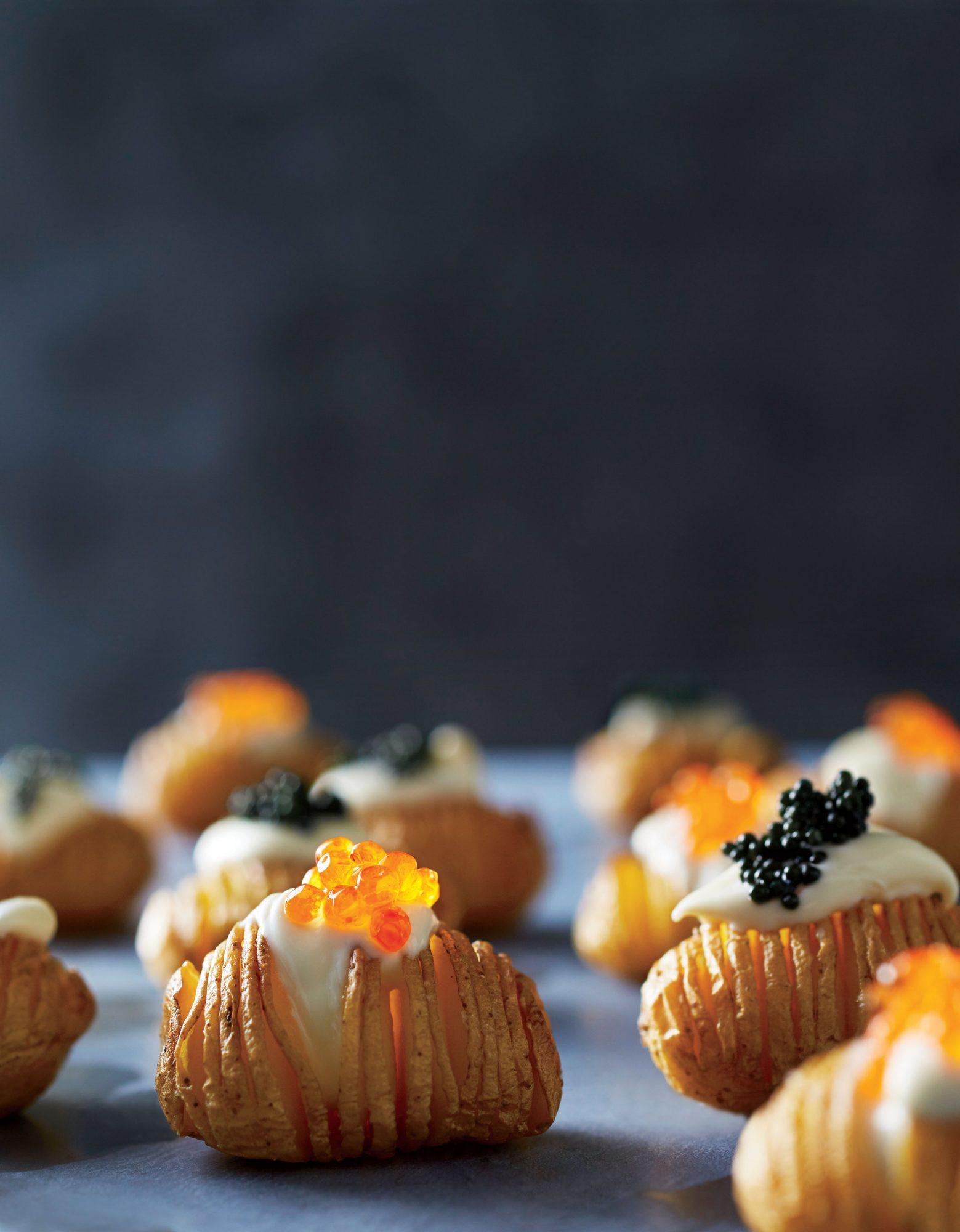 Hasseltots with Crème Fraîche and Caviar