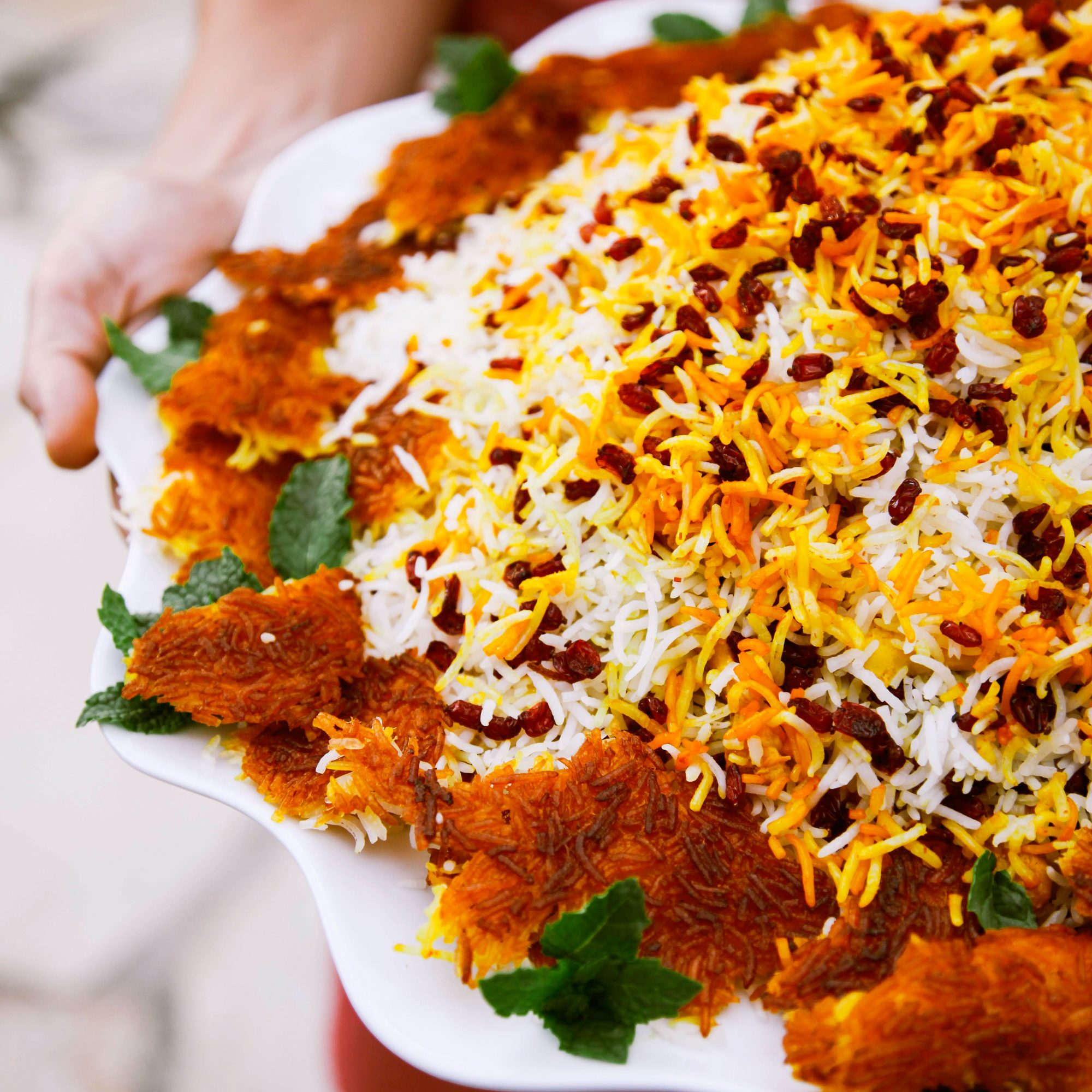 Barberry Rice with Saffron Chicken (Zereshk Polo)