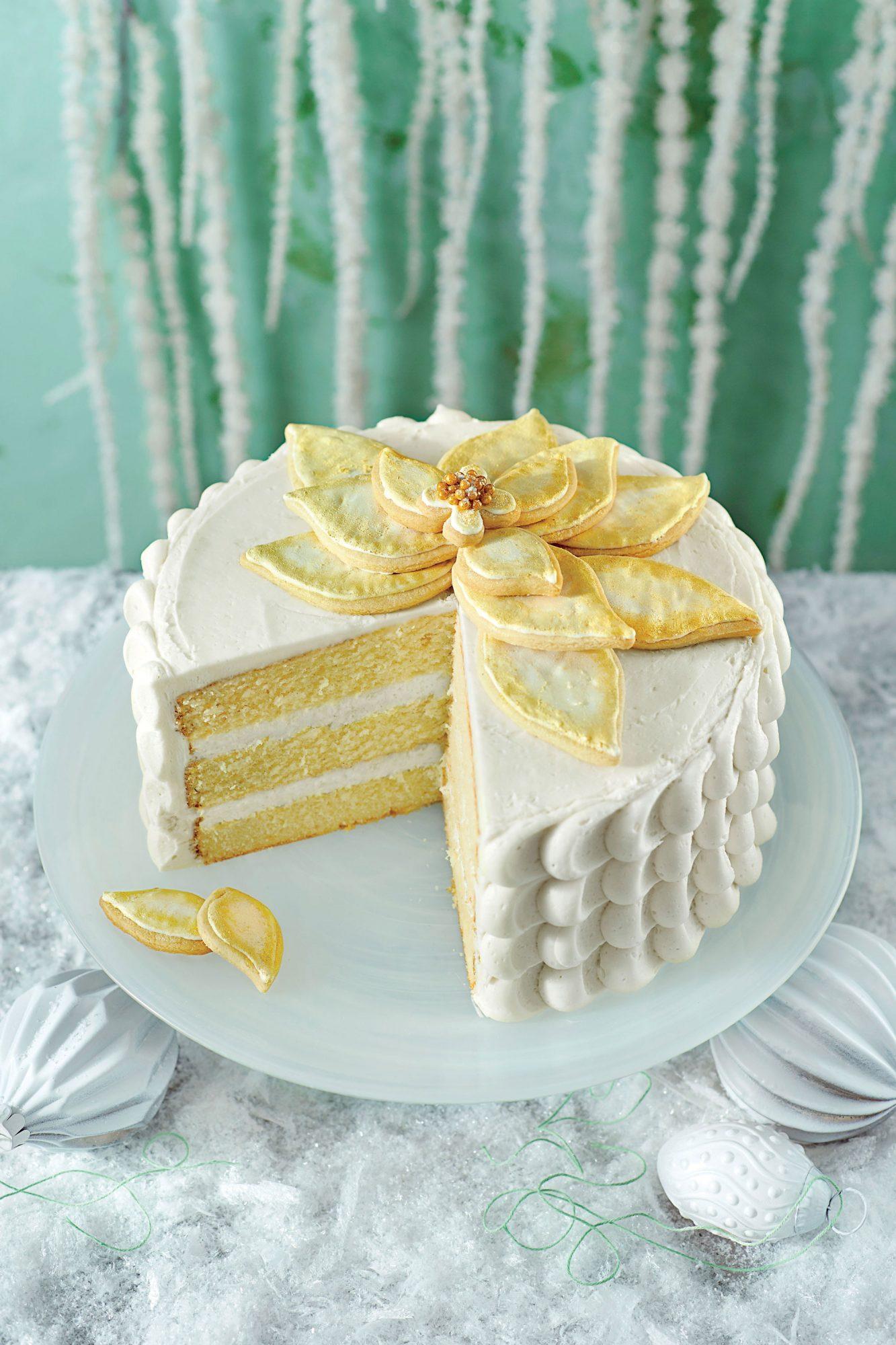 White Chocolate Poinsettia Cake image