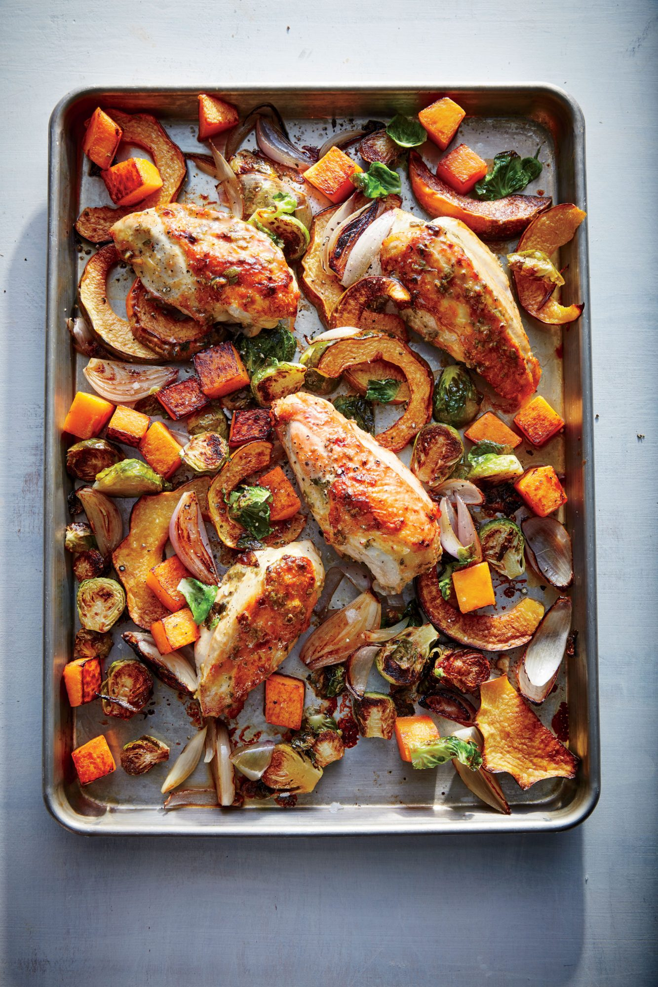 Maple-Mustard Roasted Chicken with Squash and Brussels Sprouts image