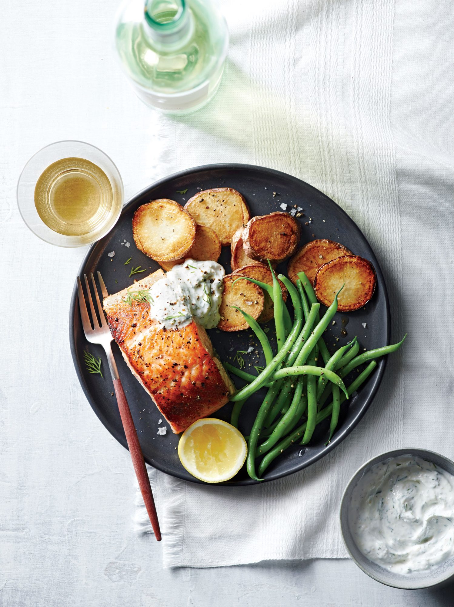 Salmon with Potatoes and Horseradish Sauce image