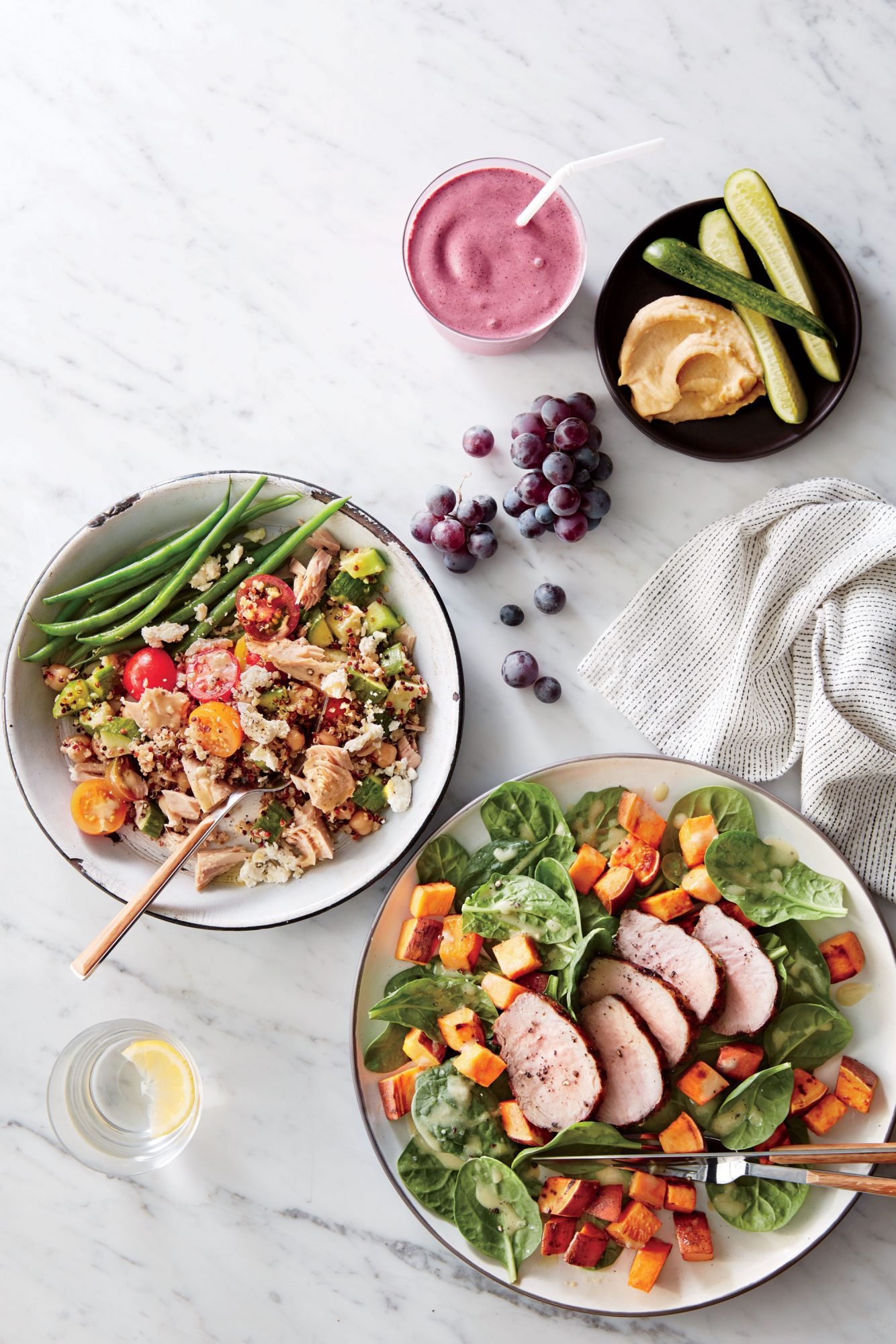 Spinach Salad with Roasted Sweet Potatoes