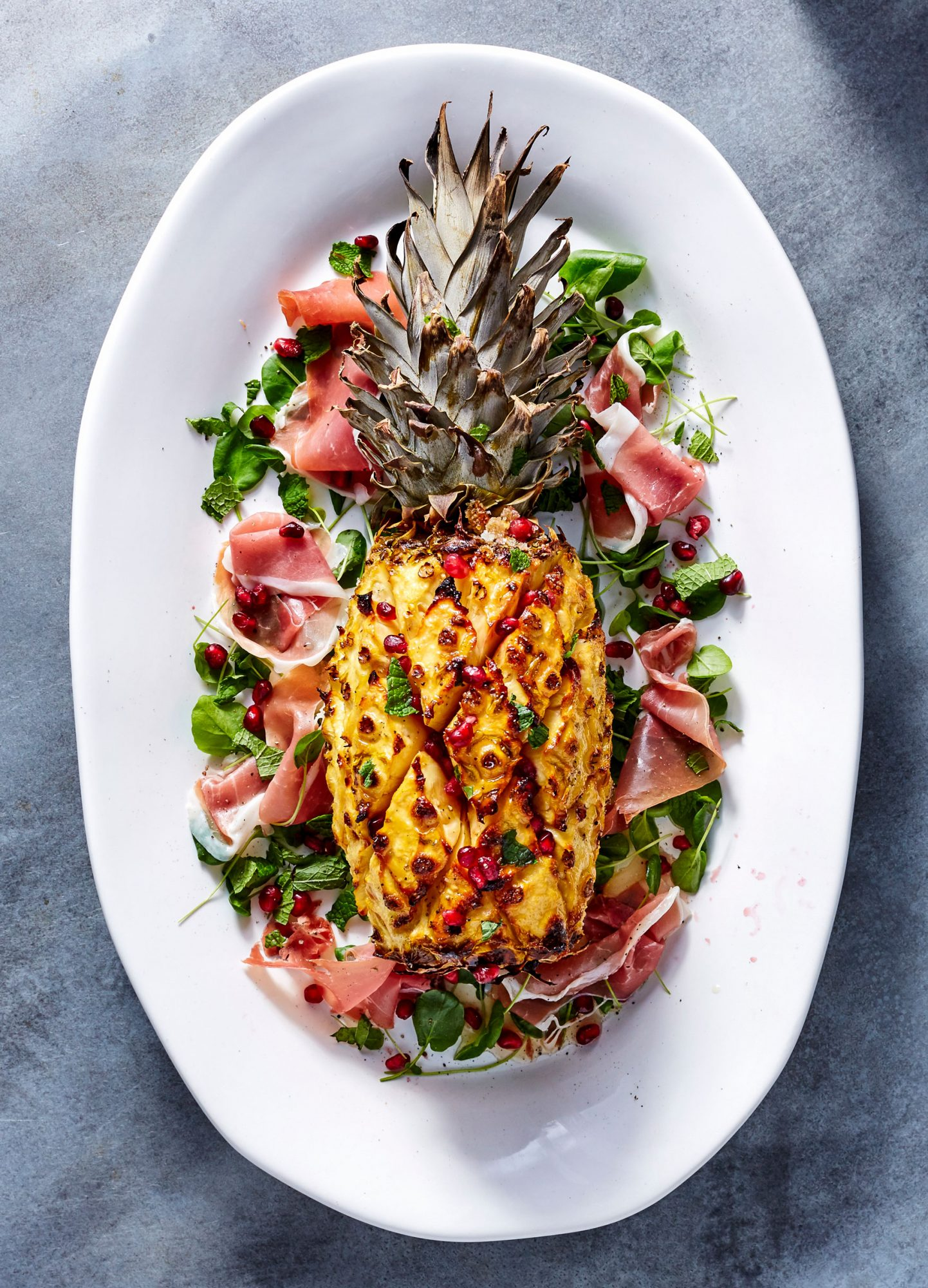 Ham Cured Pineapple with Prosciutto and Pomegranate