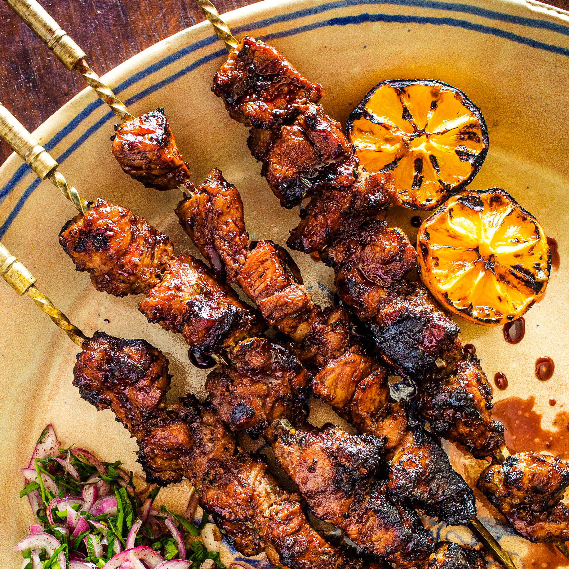 Pomegranate-Glazed Pork Skewers with Dill-Onion Marinade