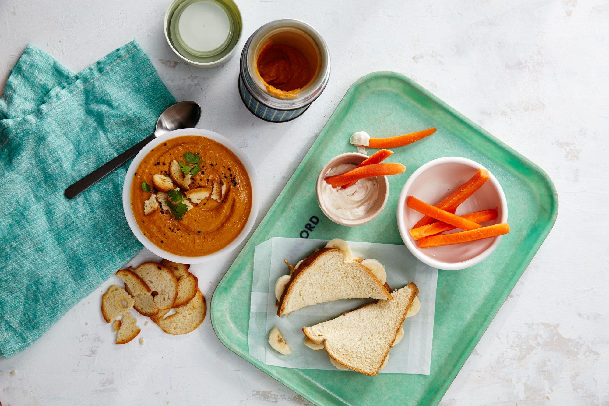 Gingered Carrot Cashew Soup/Cashew Butter Banana Sandwich header image