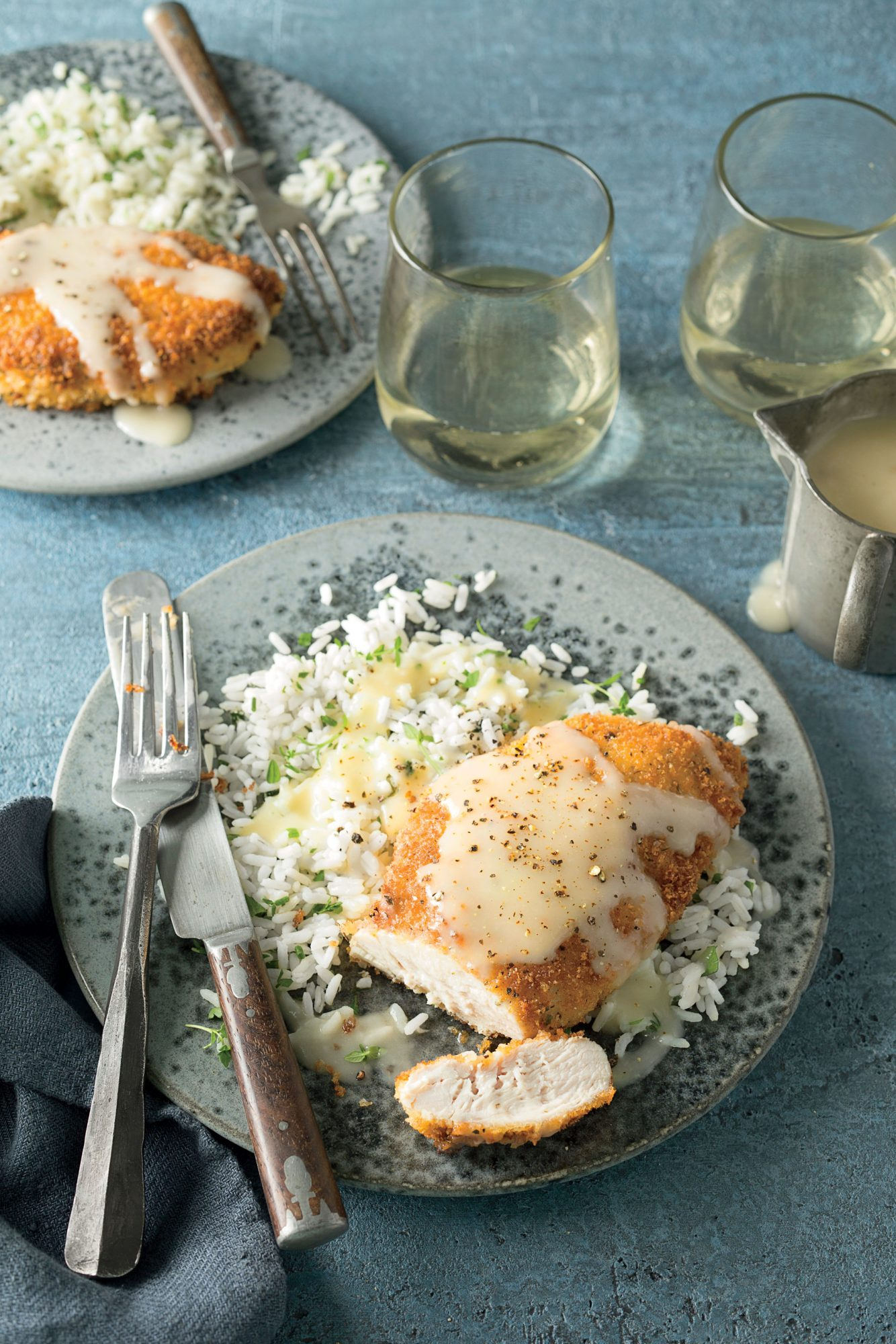 Pam Lolley's Crispy Chicken with Rice and Pan Gravy image