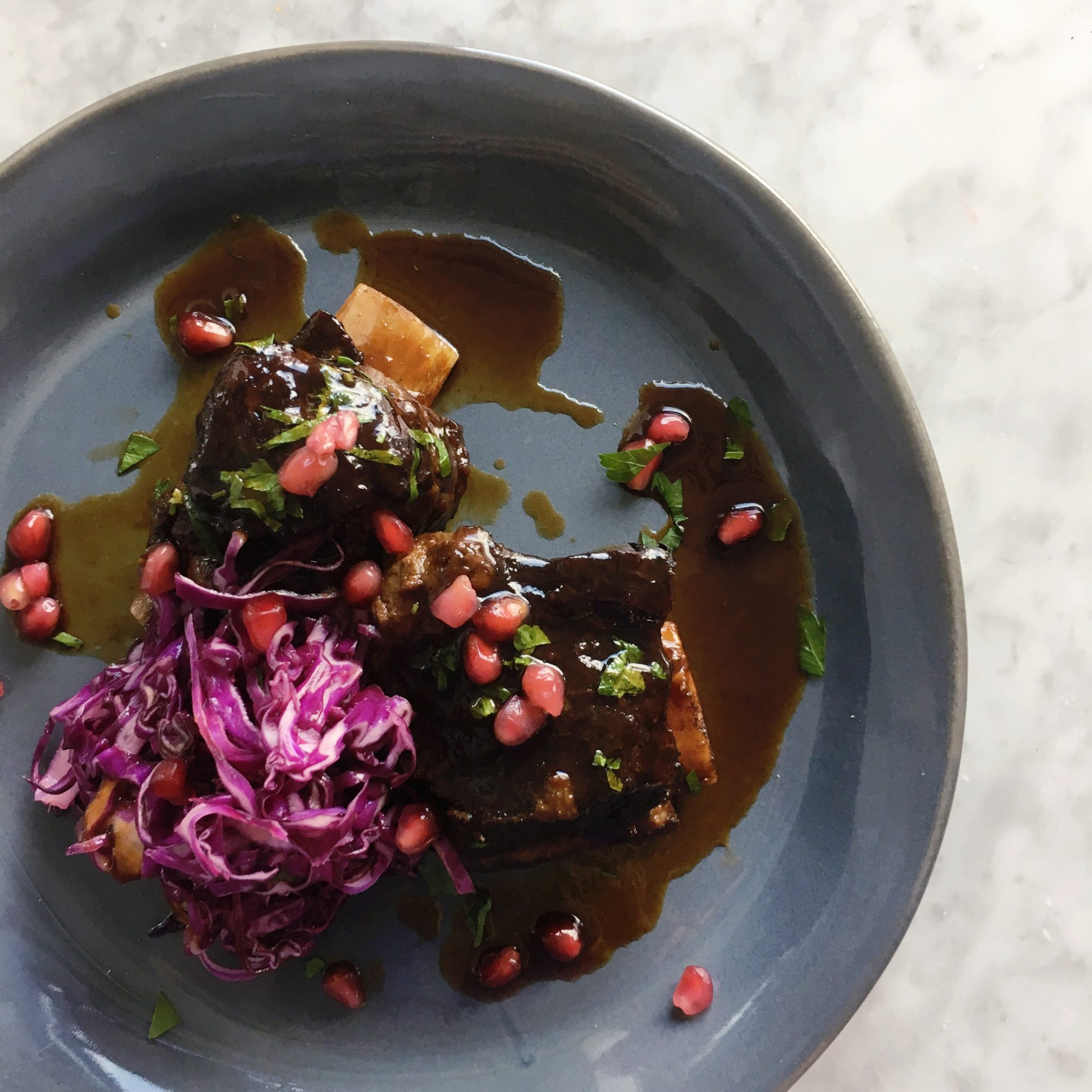 Braised Short Ribs with Savory Red Cabbage Slaw Image