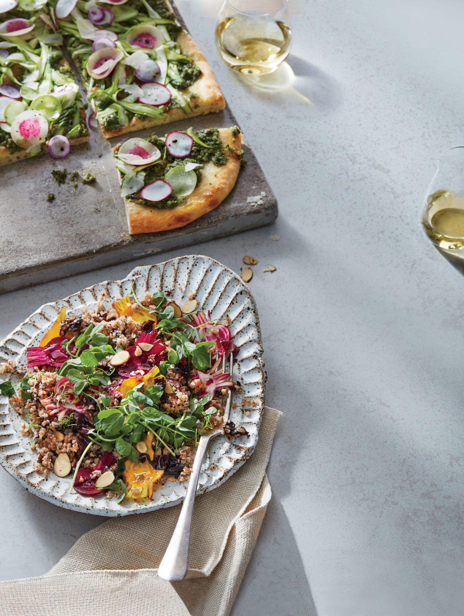 Flatbread with Kelp-Walnut Pesto and Asparagus