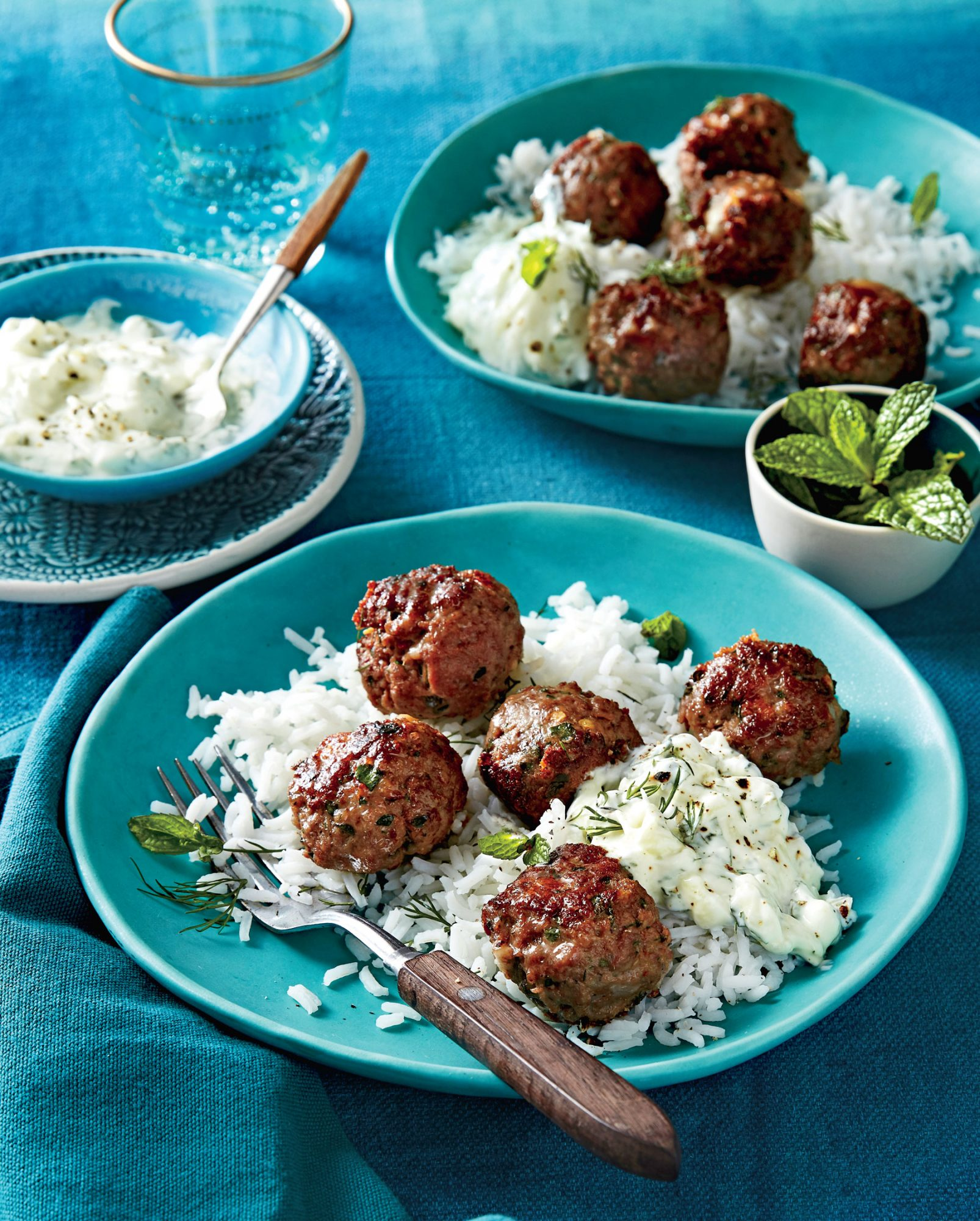 Greek Meatballs with Cucumber-Yogurt Sauce and Rice image