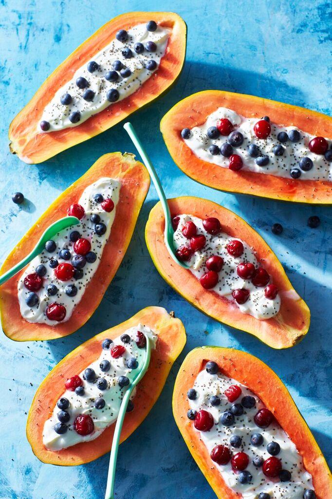 Papaya-Blueberry-Cherry Breakfast Bowls