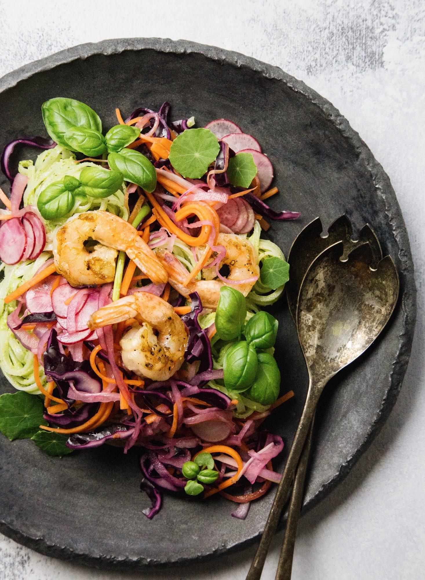 Arugula Pesto Rice Noodle Salad
