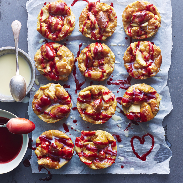 Stale Doughnut Bread Pudding Muffins with White Chocolate and Raspberry Sauces image