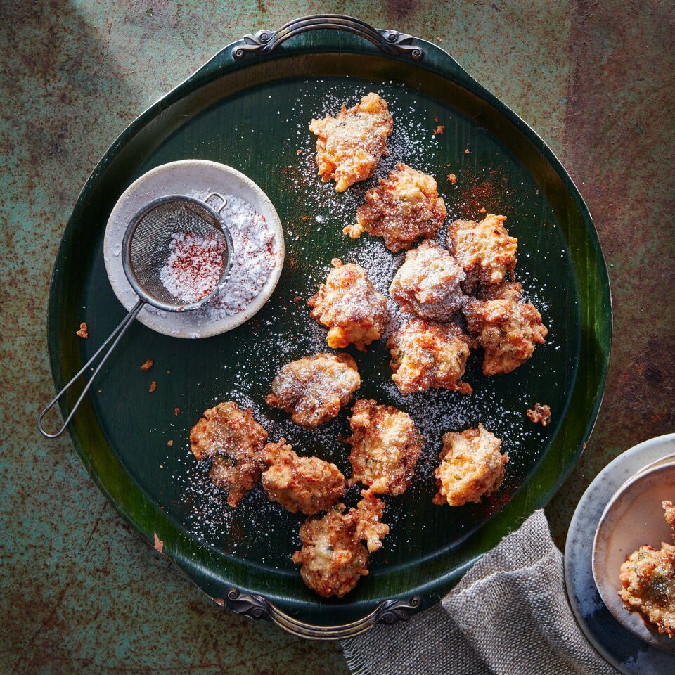 Savory Crawfish Beignets with Cayenne Powdered Sugar