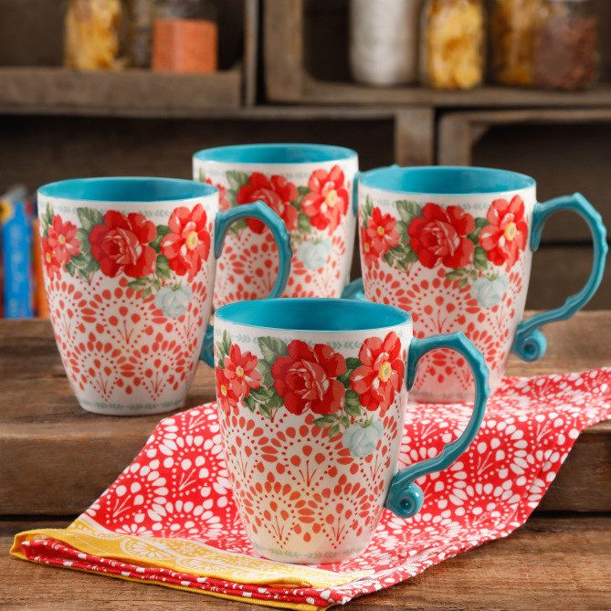 Pioneer Woman Vintage Floral 26 Oz. Jumbo Latte Mug Set of 4 image