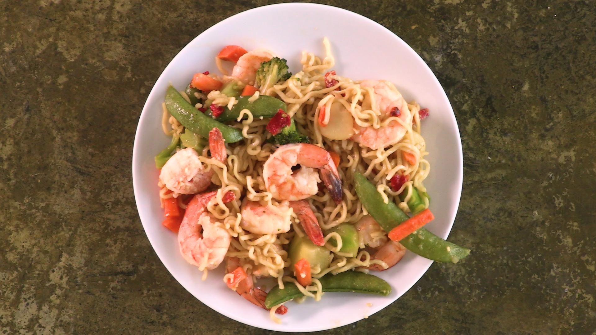 shrimp stir fry ramen image