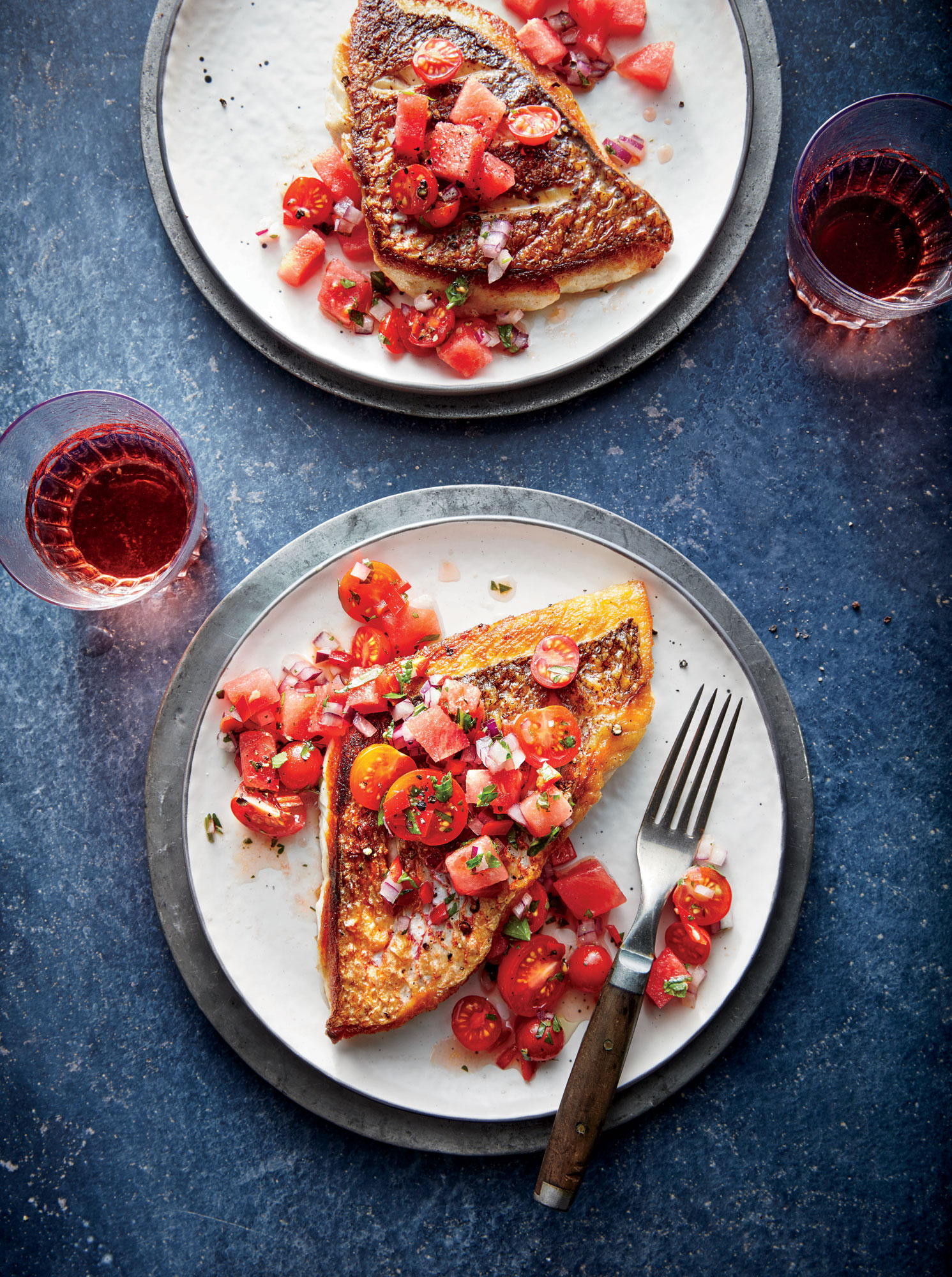 Red Snapper with Chunky Tomato-Watermelon Salsa