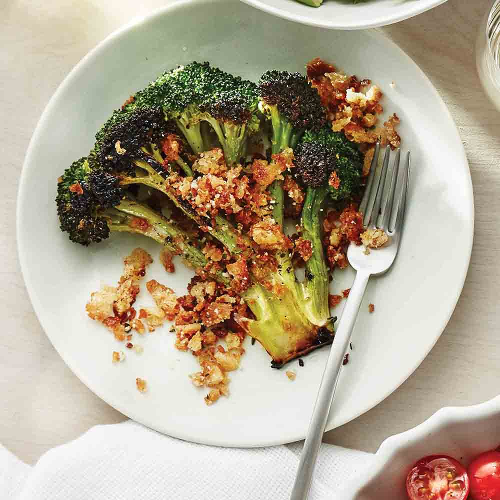 Broccoli Steaks with Parmesan Bread Crumbs