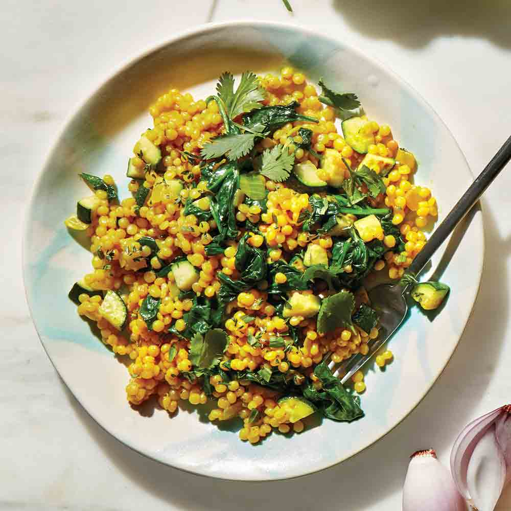 Pasta Pearls with Spinach and Turmeric