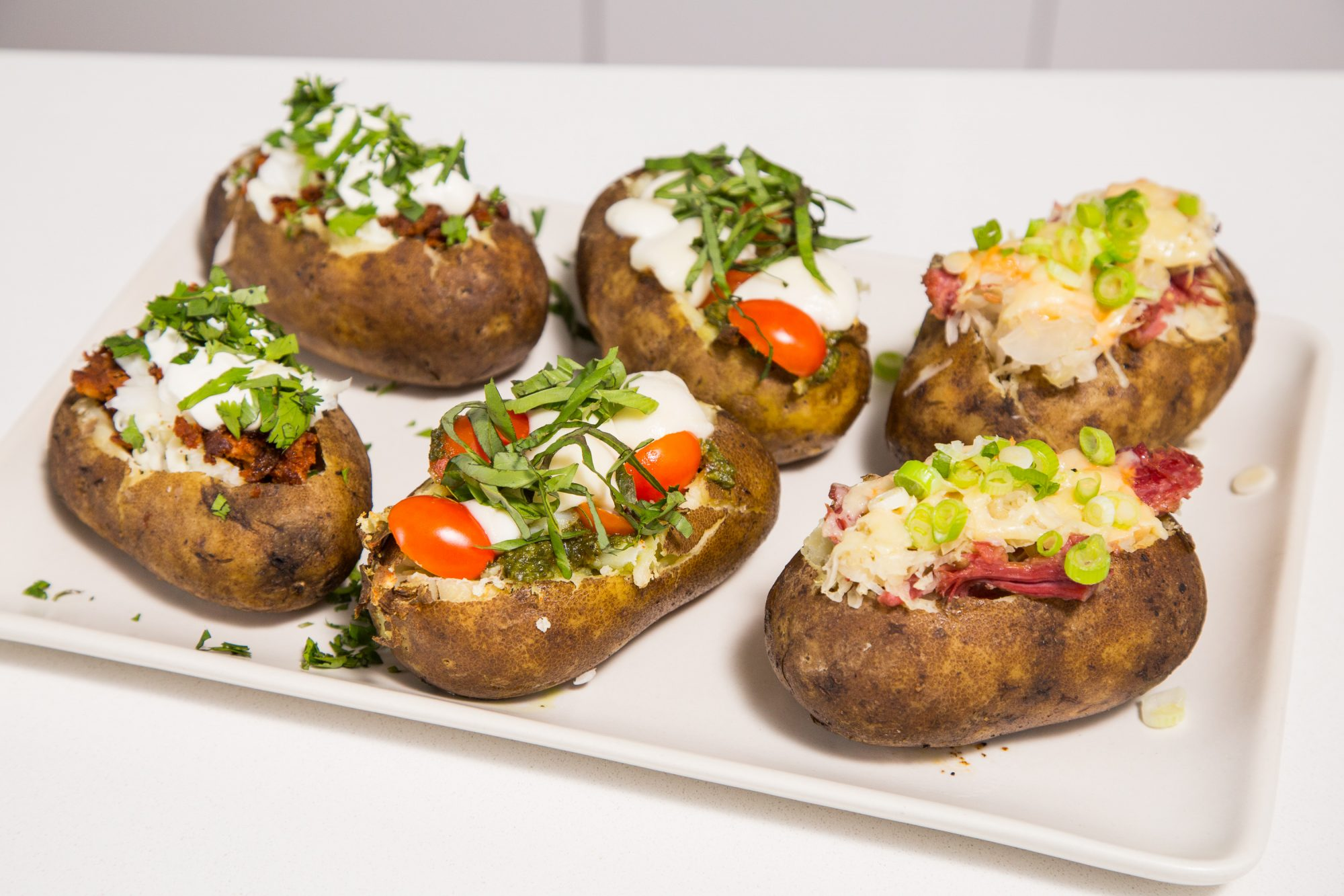 Three Ways Stuffed Baked Potatoes
