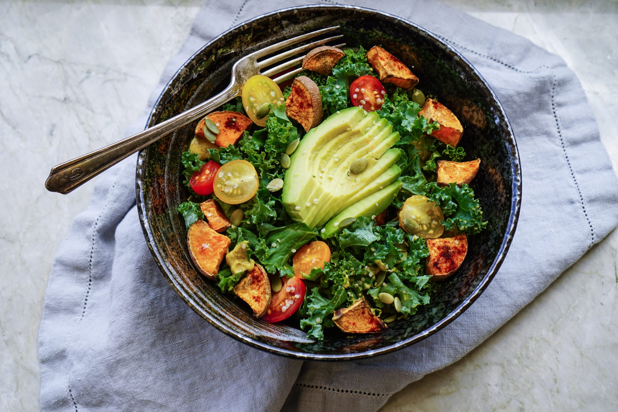 Kale Salad with Roasted Yams and Avocado