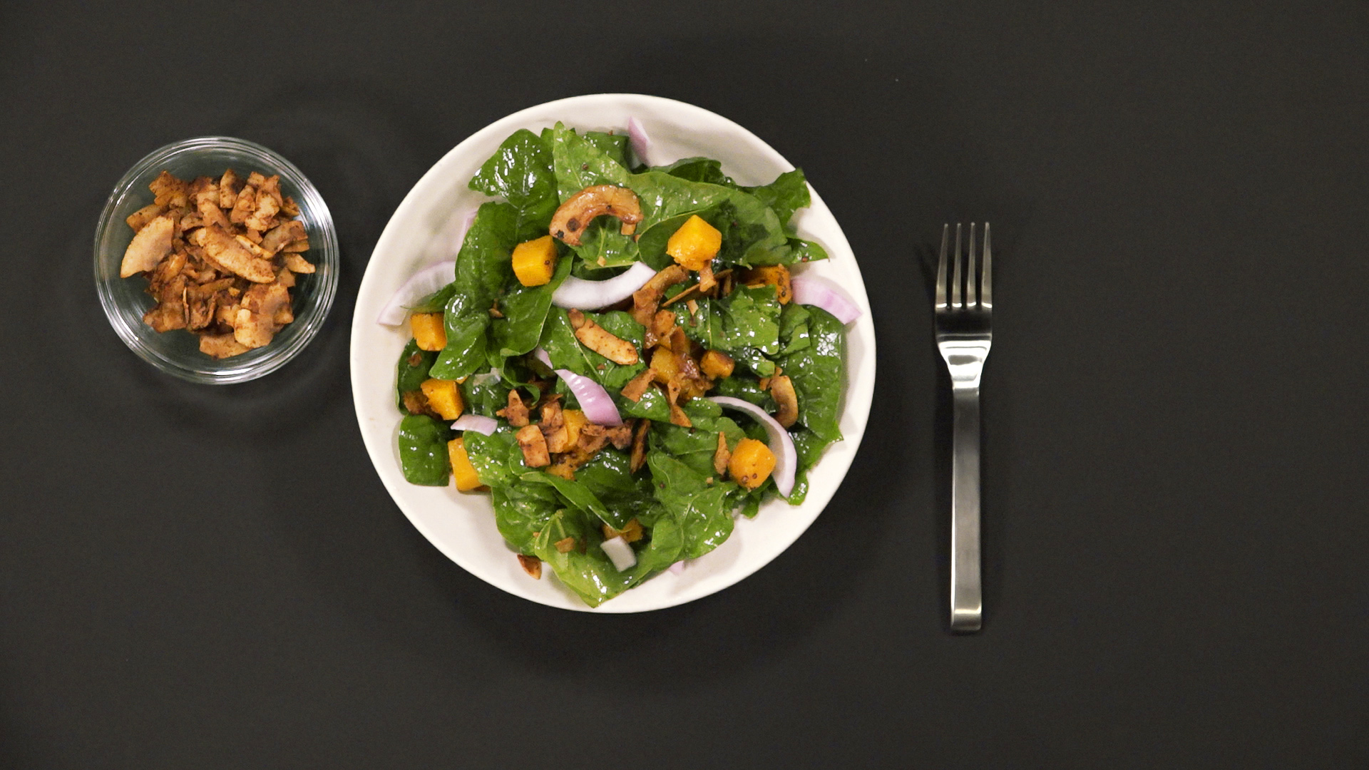 Wilted Spinach Salad with Coconut Bacon